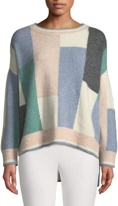 ADAM by Adam Lippes Colorblock Brushed Cashmere Crewneck Pullover Sweater