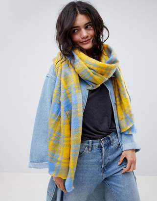Asos DESIGN Long Oversized Scarf In Brushed Yellow Bright Check