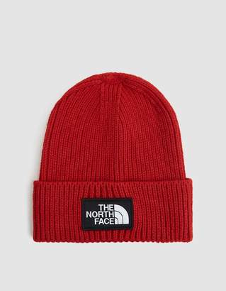 The North Face Black Box Logo Box Cuff Beanie in TNF Red