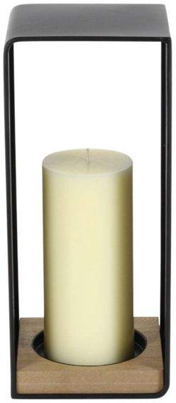 Benzara Metal Wood Candle Holder