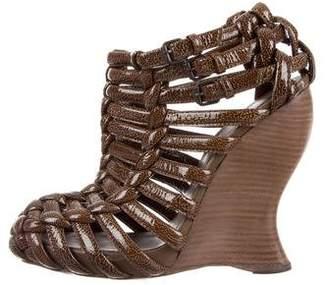Bottega Veneta Patent Leather Woven Wedges