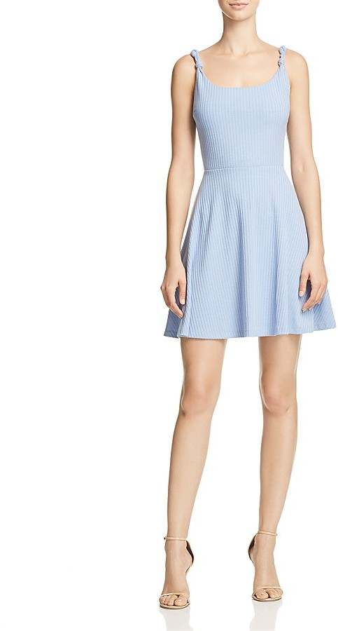 AQUA Knotted Strap Ribbed Dress - 100% Exclusive