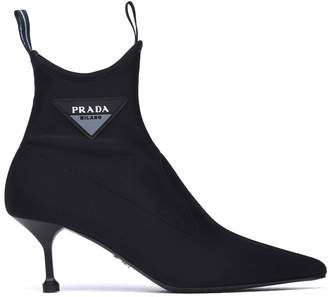 Prada Black Neoprene Booties With Rubber Logo
