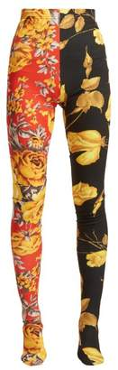 Richard Quinn - Contrast Panel Floral Print Leggings - Womens - Red Multi