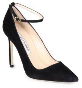 Manolo Blahnik BB 105 Suede Ankle-Strap Pumps $645 thestylecure.com