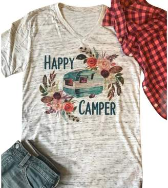 Camper Jahurto Happy Fora T-shirts V Neck Graphic Tees Womens Short Seeve Summer Tops (Coor : , Size :)