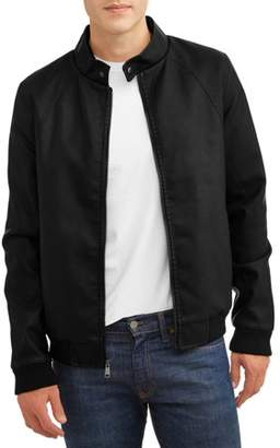 Climate Concepts Men's Faux Leather Bomber With Sherpa Lined Interior, Up to Size 2XL