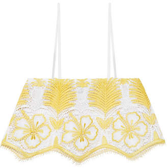 Miguelina Chandler Cropped Crocheted Cotton Top - Marigold