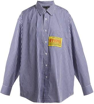 Martine Rose Patch-appliqué checked cotton shirt
