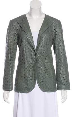 Giorgio Armani Leather Long Sleeve Jacket