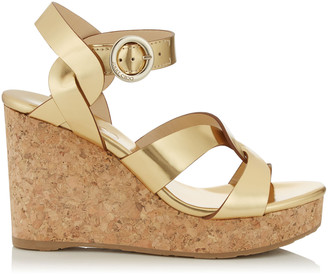Jimmy Choo ALEILI 100 Gold Mirror Leather Wedge with Buckle