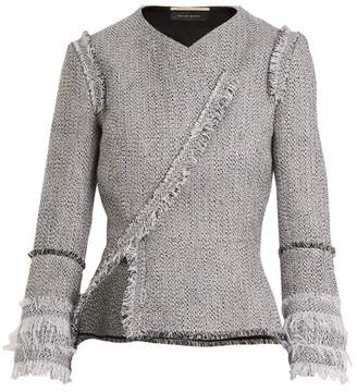 Roland Mouret Kirkham Asymmetric Tweed Jacket - Womens - White Multi