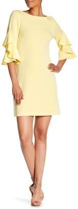 Taylor 3/4 Length Ruffle Sleeve Shift Dress