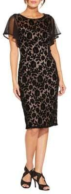 Adrianna Papell Floral Velvet Sheath Dress