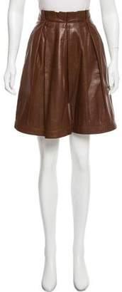 Gunex Pleated Leather Skirt