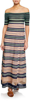 M Missoni Striped Off-the-Shoulder Maxi Dress
