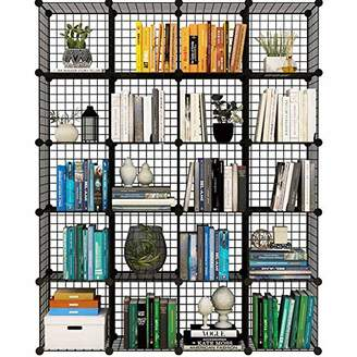 KOUSI Storage Cubes Wire Grid Modular Metal Cubbies Organizer Bookcases and Book Shelves Origami MultiFuncation Shelving Unit