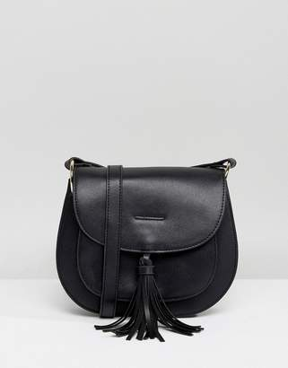 Glamorous Black Saddle Bag With Tassle Detail