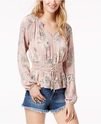 American Rag Juniors' Printed Corset-Front Crochet-Trimmed Blouse, Created for Macy's