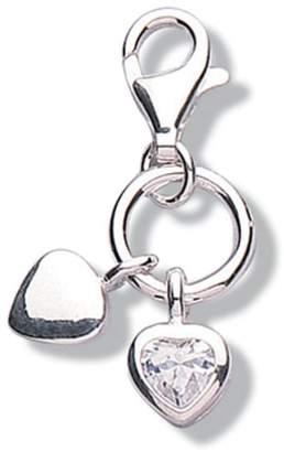 Jo for Girls Sterling Silver Cubic Zirconia Double Heart Charm