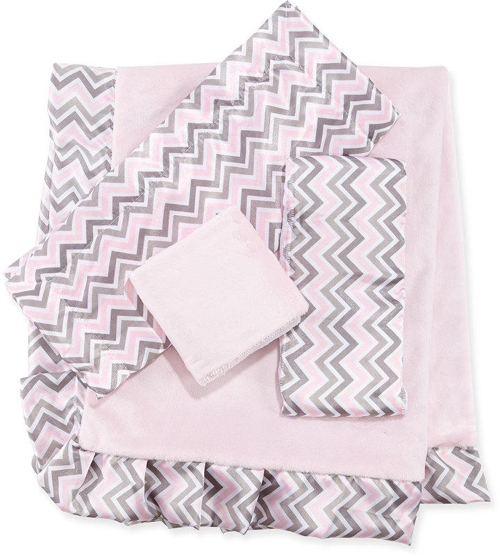 Swankie Blankie Chevron Receiving Blanket, Security Blanket & Burp Cloth Set