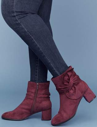 Lane Bryant Faux Suede Bow Ankle Boot