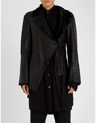 Ann Demeulemeester Waist-tie leather and shearling jacket