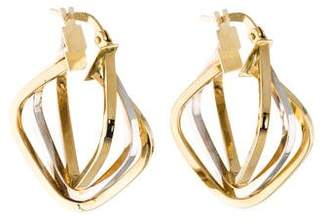 14K Two-Tone Triple Hoop Earrings