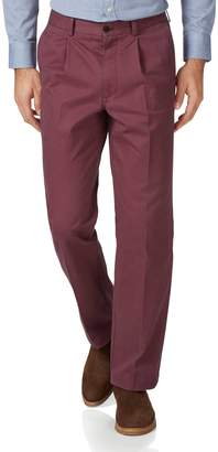 Charles Tyrwhitt Dark Pink Classic Fit Single Pleat Washed Cotton Chino Pants Size W34 L32