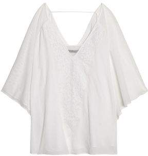 Lace-Trimmed Mesh And Cotton-Gauze Coverup