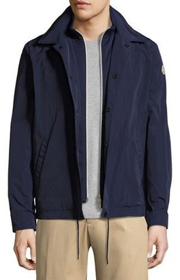 Moncler Adrien Utility Shirt Jacket, Navy $835 thestylecure.com