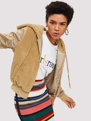Shein Quilted Sleeve Fleece Hooded Jacket