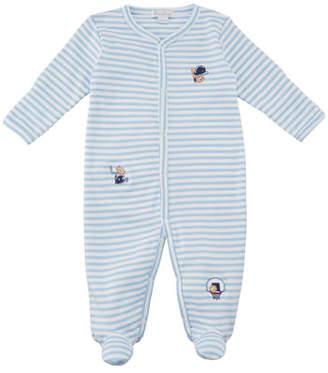Kissy Kissy Fall Sports Striped Embroidered Footie Playsuit, Size Newborn-9M