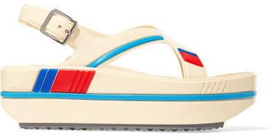 Prada - Striped Rubber Platform Sandals - Neutral