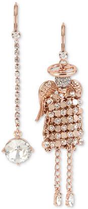 Betsey Johnson Rose Gold-Tone Crystal Mesh Angel Mismatch Drop Earrings