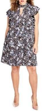 Rachel Roy Floral Ruffle Tie Dress