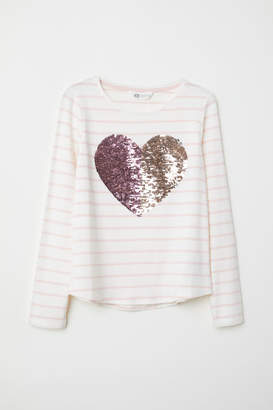 H&M Jersey Top with Sequin Motif - Pink