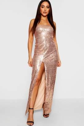 boohoo Sequin Bandeau Maxi Dress