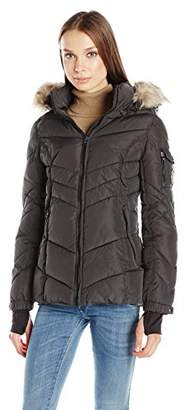 Madden-Girl Women's Puffer Jacket with Faux Fur Hood