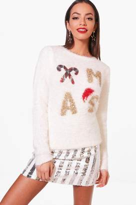 boohoo Millie Fluffy Knit Sequin Christmas Jumper