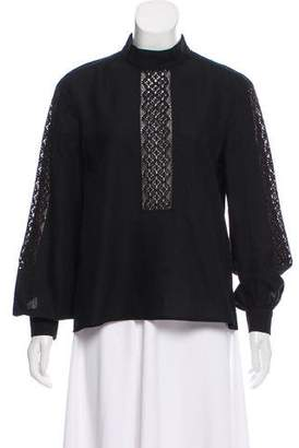 Vilshenko Lace-Accented Mock Neck Top