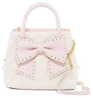 Betsey Johnson Quilted Heart Pink Faux Leather Studded Bow Bucket Handbag Shoulder Bag