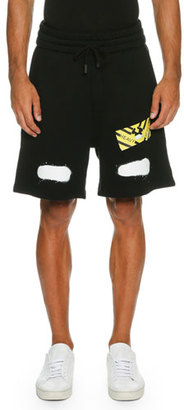Off-White Spray-Paint Logo Sweat Shorts, Black $375 thestylecure.com