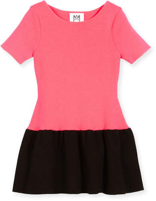 Milly Minis Short-Sleeve Ponte Fit-and-Flare Two-Tone Dress, Pink/Black, Size 4-7