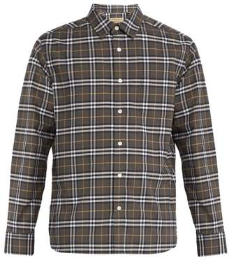 Burberry George Checked Cotton Blend Shirt - Mens - Grey Multi