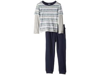 Splendid Littles Reverse Stripe Long Sleeve Tee Set (Little Kids/Big Kids)