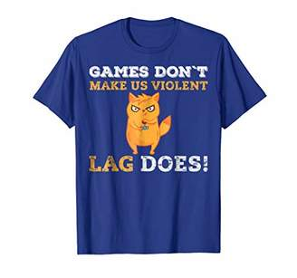 Violent Gamers Lag Games Funny Neon Cat Play Gaming T-Shirt