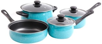 Gibson Casselman 7 pc Cookware Set - Turquoise - Enamel Look - Bakelite Snow Handle - Carbon Steel