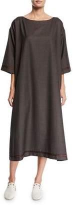 eskandar Slim A-Line Wool-Silk Midi Dress