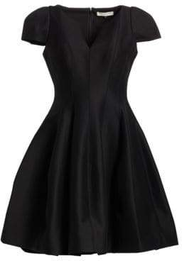 Halston Cap-Sleeve Sateen Dress